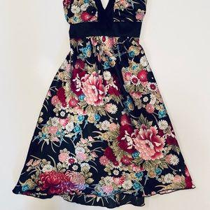 Love Tease Black Floral MIDI Backless Dress Size 3